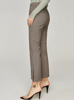 Retro High Waisted Houndstooth Flare Pants