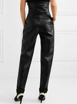 High Waisted Faux Leather Harem Pants
