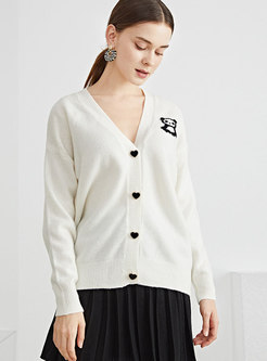 Single-breasted Panda Embroidered Wool Cardigan