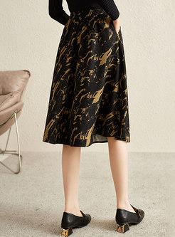 High Waisted Print A Line Midi Skirt