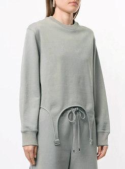 Crew Neck Pullover Asymmetric Sweatshirt