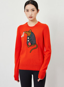 Cartoon Embroidered Pullover Long Sleeve Sweater