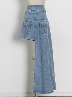 High Waisted Asymmetric Denim Maxi Skirt