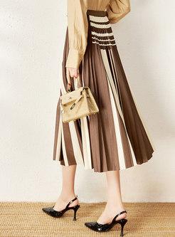 High Waisted A Line Striped Pleated Midi Skirt