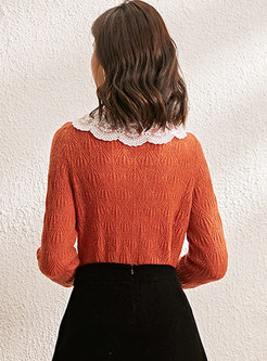 Lace Patchwork Pullover Openwork Sweater