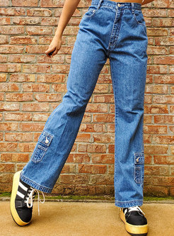 Retro High Waisted Straight Jeans