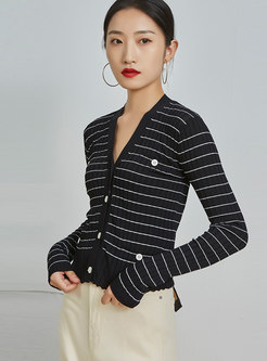 V-neck Striped Short Ribbed Cardigan