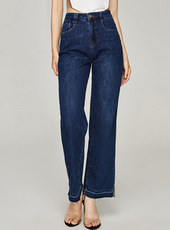 Casual High Waisted Straight Split Jeans