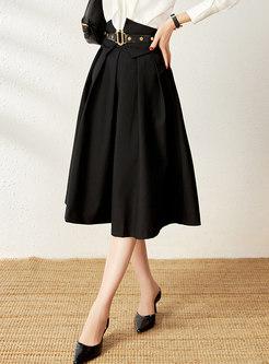 High Waisted A Line Big Hem Midi Skirt