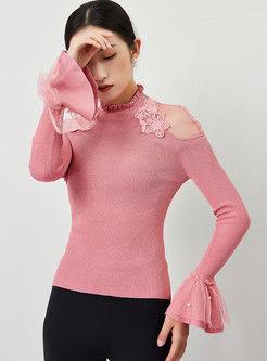 Mock Neck Sheer Mesh Pullover Slim Sweater
