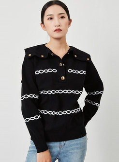 Long Sleeve Chain Pattern Pullover Sweater
