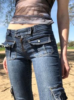 Retro High Waisted Denim Bell Bottom Pants