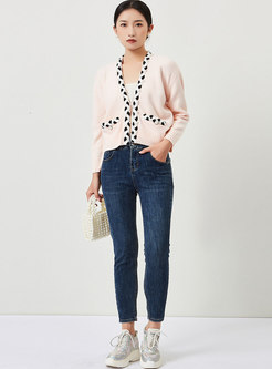 Sweet V-neck Beaded Cable-knit Short Cardigan