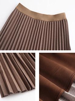 Casual High Waisted Pleated Midi Skirt