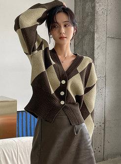 V-neck Long Sleeve Plaid Short Cardigan