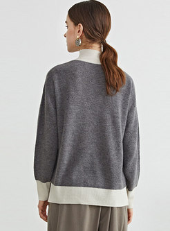 Color-blocked Pullover Loose Wool Sweater