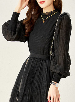 Long Sleeve Jacquard Pullover Openwork Top