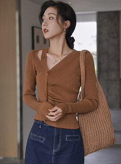 V-neck Single-breasted Ruched Cropped Sweater