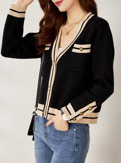 V-neck Striped Casual Cardigan