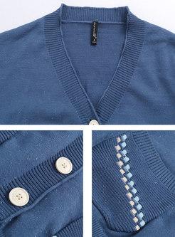 V-neck Long Sleeve Single-breasted Cardigan