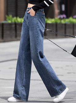 Casual High Waisted Denim Wide Leg Pants