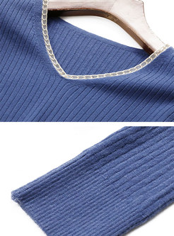 V-neck Long Sleeve Pullover Ribbed Sweater