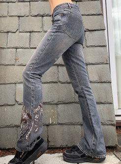 Low Rise Washed Denim Embroidered Straight Pants