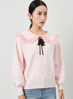 Sweet Doll Collar Bowknot Pullover Loose Sweater