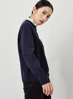 Ruffle Mock Neck Long Sleeve Pullover Sweater