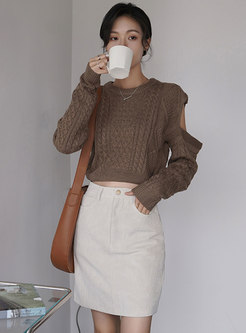 Cold Shoulder Cable-knit Sweater