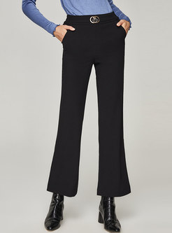 Casual High Waisted Straight Flare Pants