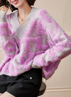 V-neck Letter Pullover Loose Sweater