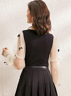 Square Neck Sheer Mesh Long Sleeve Sweater