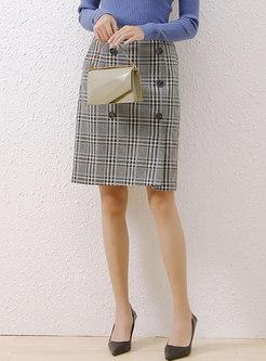High Waisted Plaid Straight Knee-length Skirt