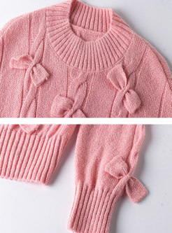 Crew Neck Bowknot Cable-knit Pullover Sweater