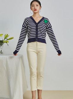 V-neck Loose Striped Cardigan