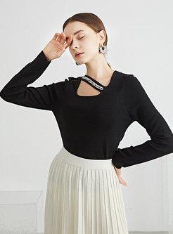 Square Neck Slim Pullover Woolen Sweater