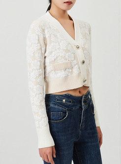 V-neck Elegant Jacquard Short Cardigan