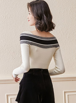 Off-the-shoulder Bowknot Pullover Sweater