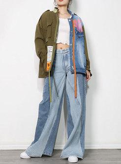 Color Blocked Patchwork Loose Denim Jacket