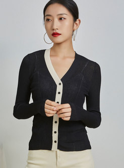 V-neck Color Blocked Thin Cardgian