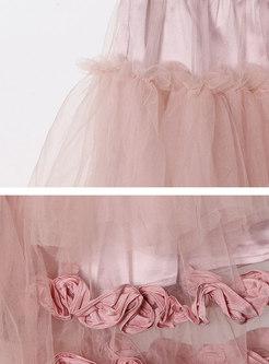 High Waisted Mesh A Line Maxi Skirt